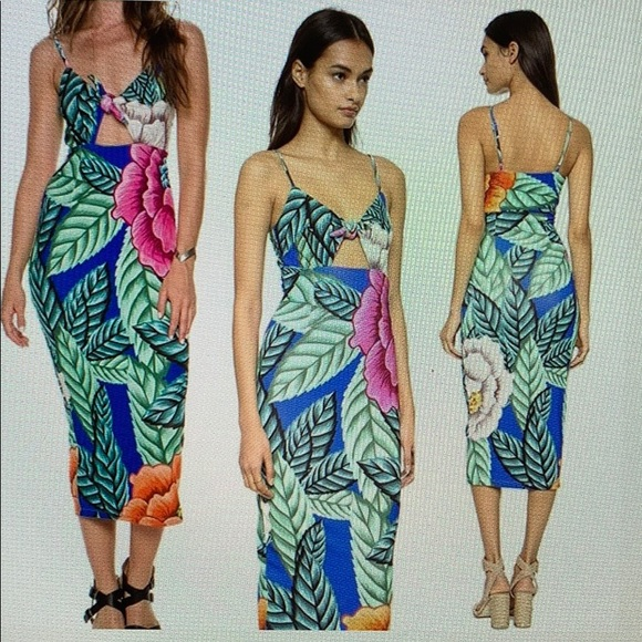 1e0f0e8c65 MARA HOFFMAN XS Tropical tie front midi dress